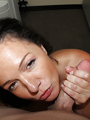 Busty MILF Pepper gave her step-son titty fuck and handjob