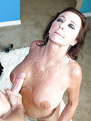 Perverted older MILF Ciara Blue sucking and stroking young cock