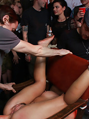 Disgraced at hard-core punk show- hedonistic cacophony of fucking squirting and bondage!