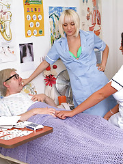 Naked old git gets a double blowjob from horny nurses after his money