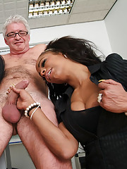 Executive tries to seduce new secretary but ends up stripped and wanked by the whole