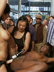 Loose ebony starlet has her black pussy fingered and fucked in public