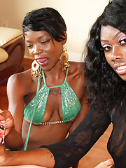 Two horny black women pleasure a massive rod with their hands