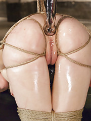 Gorgeous anal slut Penny Pax takes it hard in the ass while in tight bondage double