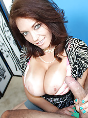 Busty milf Charlee jerking off young cock