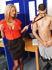 Its a slow day in the call center and Bobby cant help sneaking a peak at sexy Tia