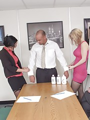 Three female marketing executives are trying to work out which new lotion their company