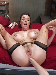 Anal fisting strap-on and double stuffing with two dommes.