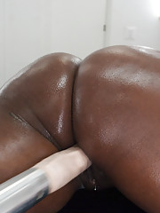 Kinky ebony wench uses sex tools to pleasure her hungry black pussy