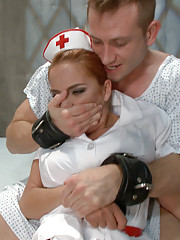 Nurse ass fucked in bondage.
