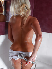 Sexy Dannii Harwood loves to take long showers and make sure every inch of her firm