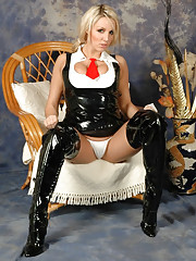 Gorgeous blonde pig tails a cute latex maid outfit and cheeky thigh high latex boots