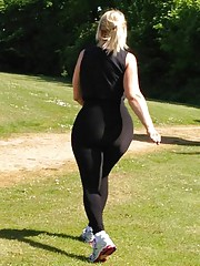 Workout at the park in transprent lycra catsuit