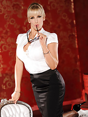 Bex looks so classy and sexy in her office skirt and sexy rimmed glasses she just