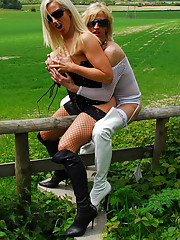 Rebecca More loves to piss outdoors in the country when her naughty girlfriend is