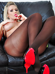 Gorgeous Milf strips off to be very naughty in her silky nylon pantyhose