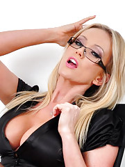 Hot blonde secretary Lucy Zara stays behind late to work on her pussy