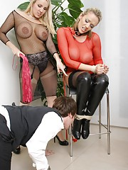Stunning lezdom in fishnet suit ties up and taunts naughty secretary Lucy Zara and