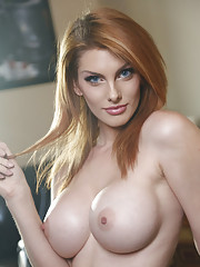 Redhead sex slut Lilith Lust waited for us on the couch with her juicy tits craving