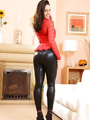 Amazing brunette Claire teasing in skin tight leggings and stockings