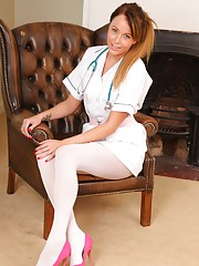 Sexy nurse in white opaque pantyhose