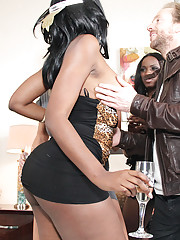 Two black women Ana and Nyomi join a horny couple in the bedroom