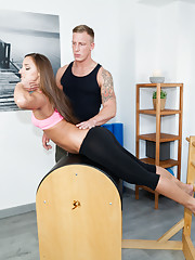 Amirah Adara takes her trainers cum in the ass in a pilates session