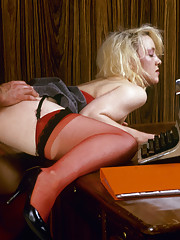 Blonde sexy secretary Ann is getting horny wet in the office
