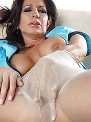 So Im laying here in this little blue uniform feeling really Delicious Pantyhose
