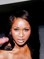 Cali Sweets gets her beautiful face covered with Will Powers ebony cum
