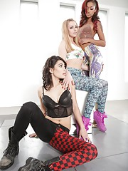 Three cute ebony lesbians Lexi BelleSkin Diamond and Raven Rockette