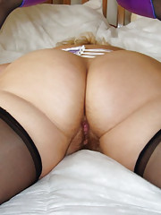 English milf in corset and stockings
