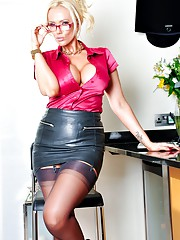 Horny Secretary Lucy Zara is working from home in her fully fashioned stockings satin