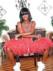 Skinny ebony babe Bianca A shows off her petite body in a cute outfit