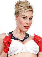 Saffy teases over the phone then turned on by her kinky girdle and seamed nylon hose