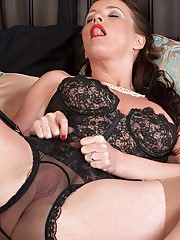 Raunchy MILF strips in sheer panties and vintage nylons for sex!