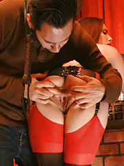 She is humiliated flogged double teamed anally fucked and covered in cum in front