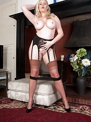 Buxom Michelle in Harmony point stockings and sheer panties!