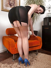 Sexy brunette Sophia in girdle long line bustier and ff nylons!