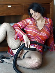 English housewife in fishnets and high heels
