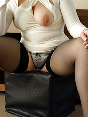 Curvy English milf in sexy ivory dress and seamed stockings
