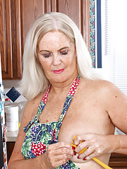 58 year old Judy Mayflower from AllOver30 dips a spatula in her pussy