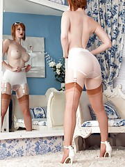 Zara peels off to display white classic lingerie and FF nylons that almost match