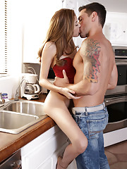 Kristina Bell gets all dolled up and gives her man a braces scraping blowjob and