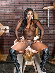 Stripping ebony video of MILF Evan Stone spreading her cunt for camera