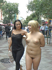Shamed Japanese whore in the streets of Madrid