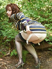 Peeing outside in stockings