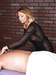 Sexy masseuse jerks off her client painfully