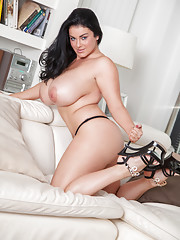 30K Karla James returns and she is looking better than ever!Karla definitely gets things started right with this sexy black and white lace bra and panties.