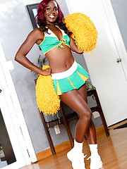 Slim ebony babe Bella Doll loves to preform in a cheerleader outfit